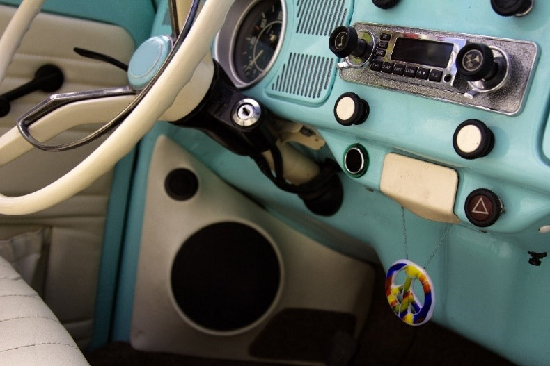 The dashboard of a classic car