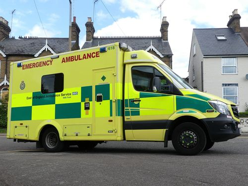 ambulance parked outside a residential home in the UK